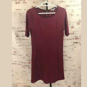 H Halston A-Line Dress Cranberry Short Sleeve